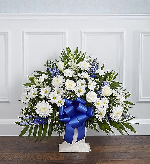 Blue and White Mache' by Rich Mar Florist