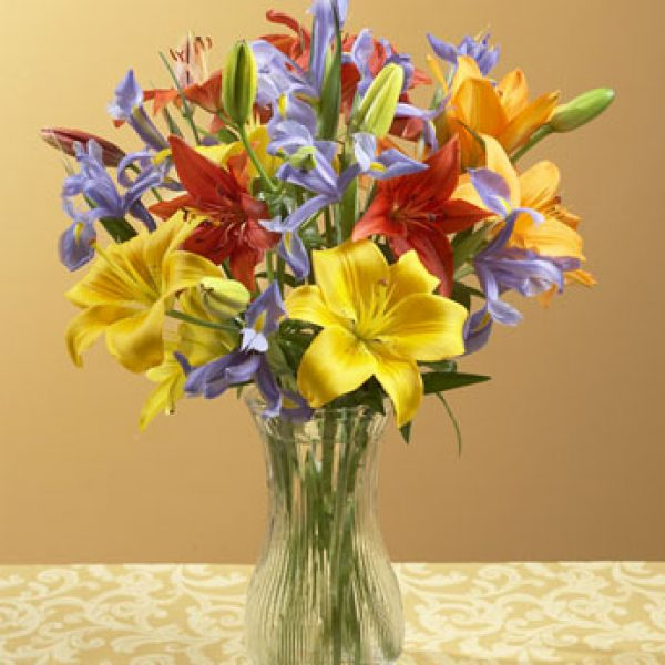 Fall Lily and Iris Bouquet by Rich Mar Florist