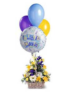 Baby Boy Bouquet with Balloons by Rich Mar Florist
