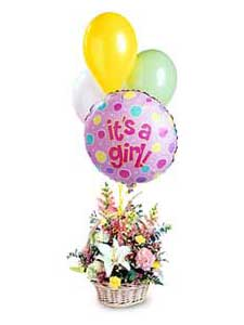 Baby Girl Basket with Balloons by Rich Mar Florist