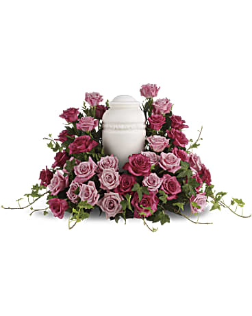 Bed of Pink Roses Urn Wreath by Rich Mar Florist