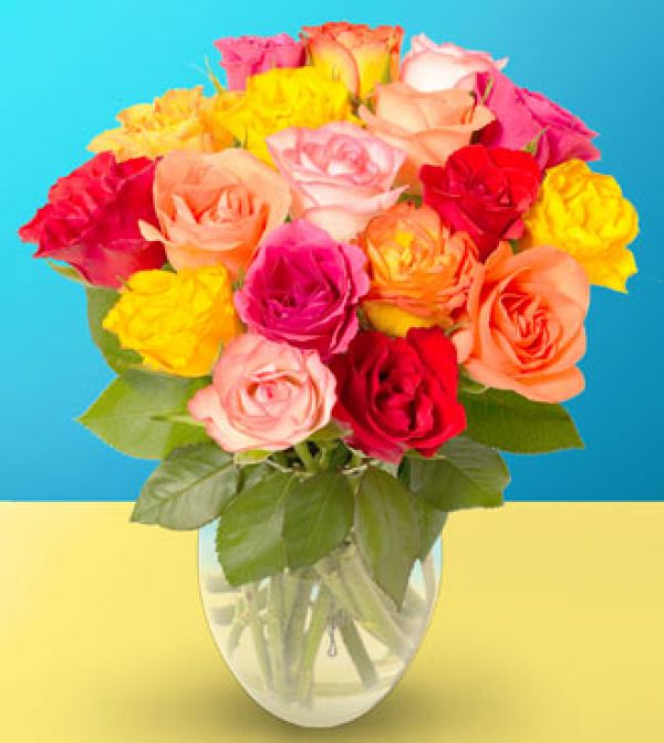 18 Mixed Colored Roses Arranged by Rich Mar Florist