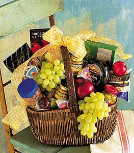 Gourmet Fruit and Snack Basket by Rich Mar Florist