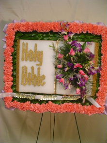 Holy Bible Standing Spray by Rich Mar Florist