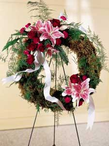 Lily & Rose Wreath by Rich Mar Florist